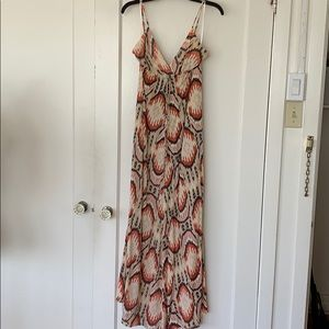 Printed maxi dress with front cinch